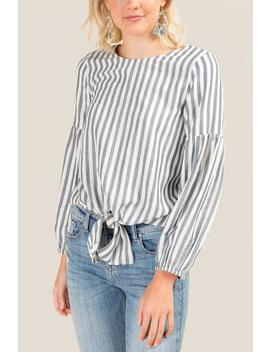 Liza Front Tie Striped Blouse by Francesca's