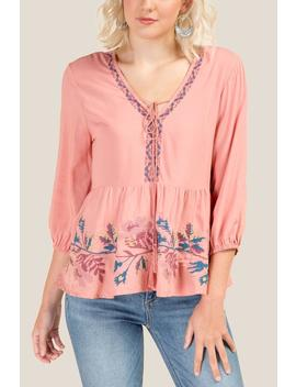 Haverly Embroidered Tassel Blouse by Francesca's