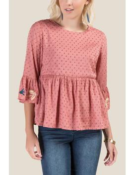 Pia Embroidered Peplum Blouse by Francesca's