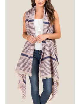 Val Striped Ruana Vest by Francesca's