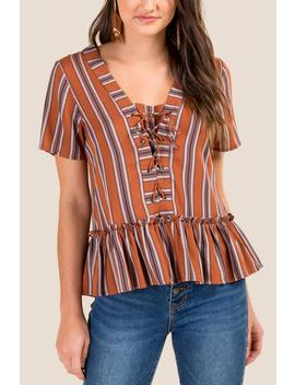 Sia Striped Lace Up Blouse by Francesca's