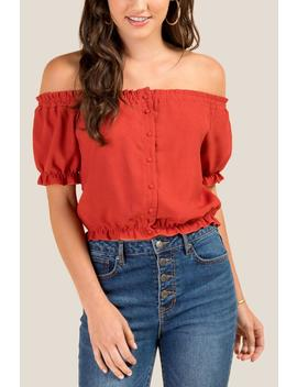 Sarina Button Front Crop Top by Francesca's