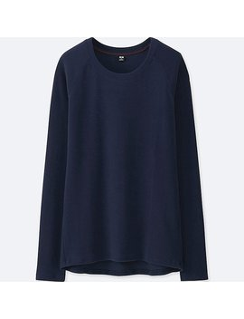 Women Heattech Stretch Fleece Crew Neck Long Sleeve T by Uniqlo
