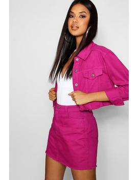 Magenta Denim Skirt by Boohoo