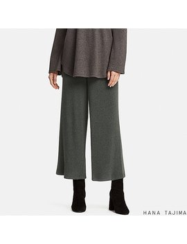Women Hpj Ribbed Wide Trousers by Uniqlo