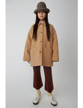 Short Cocoon Coat Camel Brown by Acne Studios