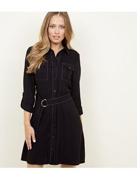 Black Utility Shirt Dress by New Look