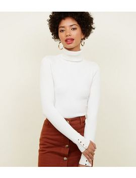Off White Roll Neck Popper Cuff Top by New Look