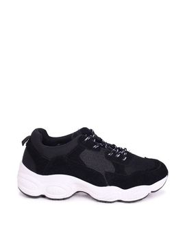 Freddie   Black Chunky Trainers by Trendeo