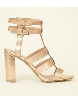 Rose Gold Metallic Gladiator Block Heels by New Look