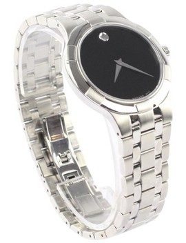 Silver Metio Black Dial Stainless Steel Watch by Movado