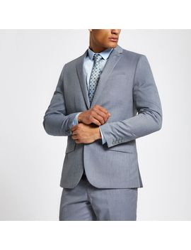 Light Blue Slim Fit Suit Jacket by River Island