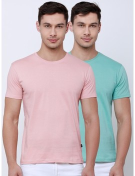 Highlander Men Pink & Aqua Pack Of 2 Solid Round Neck T Shirt by Highlander