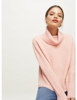 Petite Pink Funnel Neck Knitted Jumper by Miss Selfridge