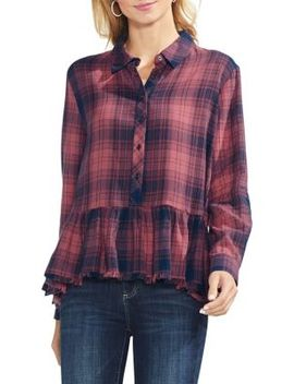 Sapphire Bloom Plaid Top by Vince Camuto