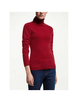 John Lewis Cashmere Roll Neck Jumper, Red by John Lewis