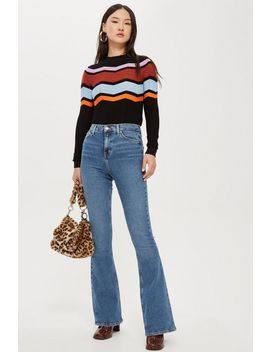 Tall Mid Blue Flared Jamie Jeans by Topshop