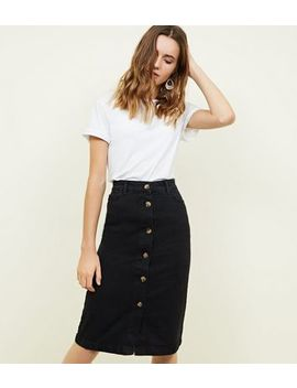 Black Denim Button Up Midi Skirt by New Look