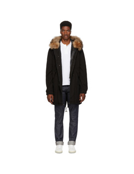 Black & Brown Fur Long Quilt Parka by Mr & Mrs Italy