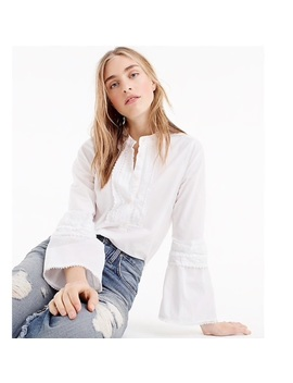 J.Crew • White Eyelet Embroidered Bell Sleeve Top   Nwt by J. Crew