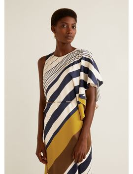Striped Asymmetrical Dress by Mango