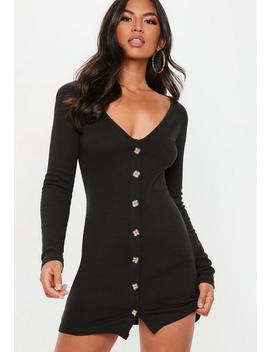 Black Horn Button Ribbed Dress by Missguided