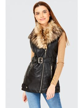 Pu Fur Collar Gilet by Select