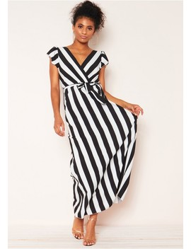 Mika Black Stripe Belted Maxi Dress by Missy Empire