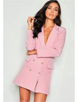 Carly Lilac Tuxedo Mini Dress by Missy Empire
