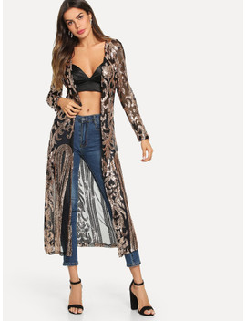 Contrast Sequin Open Front Outerwear by Shein