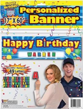 Happy Birthday Balloons Blue Party Wall Decoration Custom Sign Banner Kit by Forum