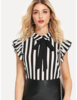 Tie Neck Ruffle Armhole Striped Top by Shein