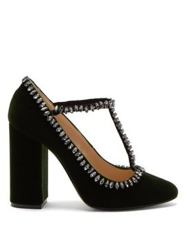 Crystal Embellished Velvet Pumps by No. 21