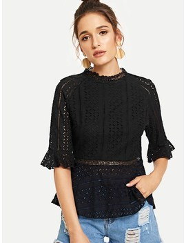Flounce Sleeve Cut Out Detail Top by Shein