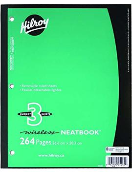 Hilroy Neatbook Wireless Notebook, 3 Subject, 132 Sheets/264 Pages, 10 1/2 X 8 Inches, Assorted Colors (05265) by Amazon
