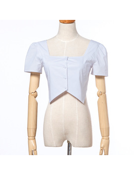 Women Square Neck Botton Front Cotton Top With Short Sleeve  by Julia Kiss