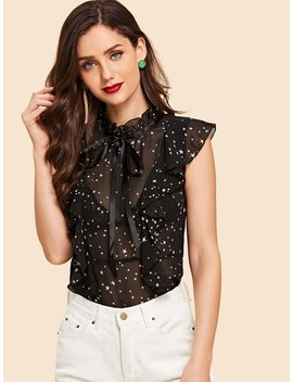 Frill Star Print Sheer Blouse by Sheinside