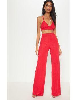Red Rib Slinky Wide Leg Trouser by Prettylittlething