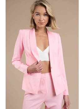 Risky Business Light Pink Fitted Blazer by Tobi