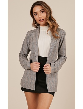 The Fit Blazer In Grey Check by Showpo Fashion