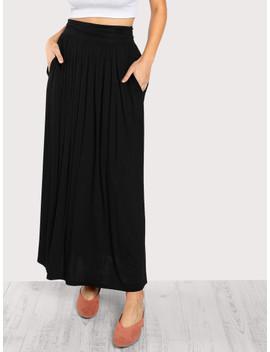 Ruched Waist Jersey Skirt by Shein