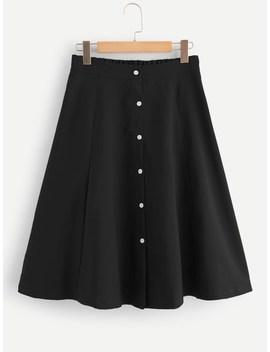 Single Breasted Elastic Waist Skirt by Sheinside