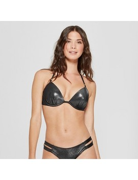 Women's Shore Light Lift Halter Metallic Bikini Top   Shade & Shore™ Silver Foil by Shop This Collection