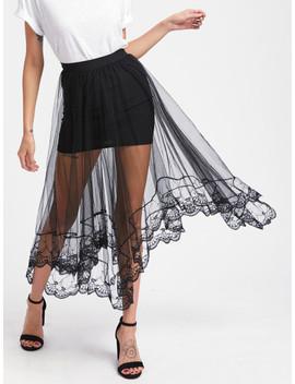 Hanky Hem Sheer Mesh Overlay Skirt by Sheinside