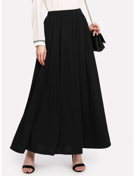 Full Length Solid Skirt by Shein