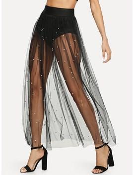 Pearl Beaded Sheer Mesh Skirt by Sheinside