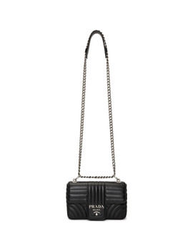Black Quilted Diagram Bag by Prada