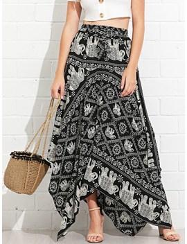 Asymmetrical Hem Elephant Print Skirt by Sheinside