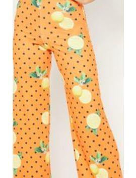 Orange Lemon Print Wide Leg Trouser by Prettylittlething