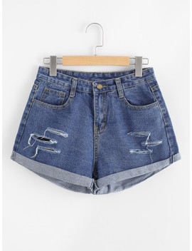 Rips Denim Shorts by Sheinside
